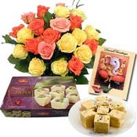 12 Mix Roses Bumch with 1Kg Soan Papdi