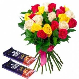 20 Mix Roses with Dairy Milk Chocolates