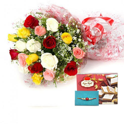Rakhi with Bunch Of 20 Mixed Roses and 1/2 Kg Kaju Katli Sweet Box