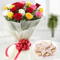 12 Mix Roses with 1/2Kg Kaju Katli