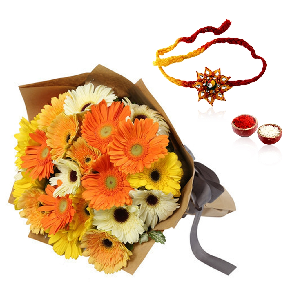 Rakhi with Mixed Gerberas