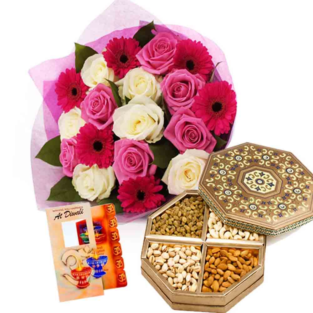 500gms Dry Fruits with 18 Mixed Flowers Bunch