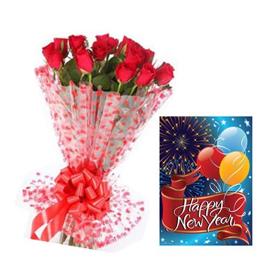 12 Red Roses Bouquet n New Year Greeting Card