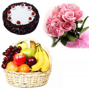 Pink Roses with Cake n Fruit Basket