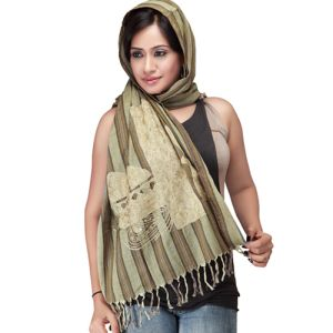 Beige Cotton Scarf-Stole