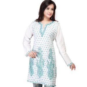 Blue and White Kashmiri Tunik