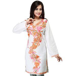 White and Orange Kashmiri Tunik