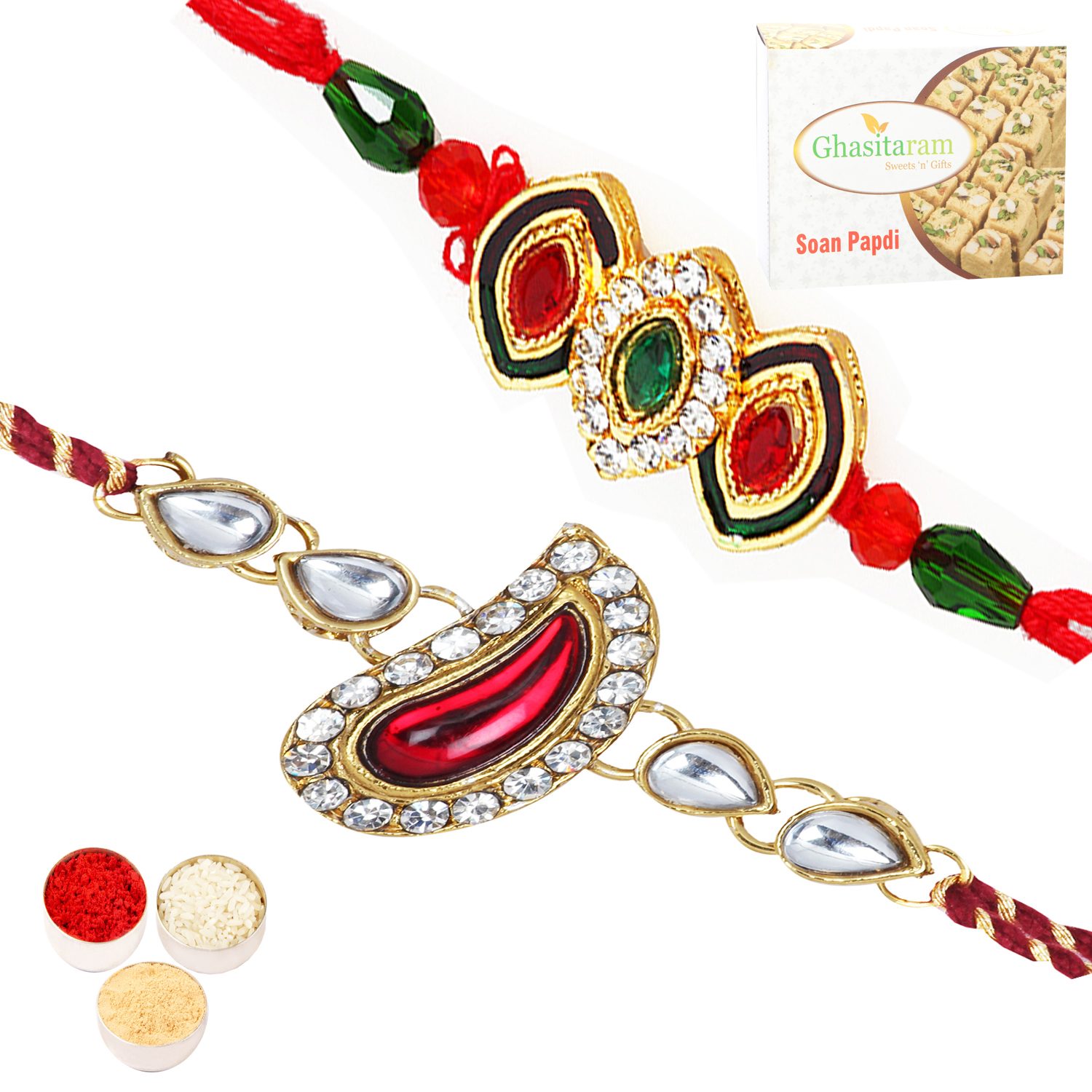 Set of Two Mango Jewel Rakhis with 200Gm Soan Papdi