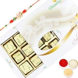 Rakhi with Chocolates Assorted Chocolates 12pcs Wh