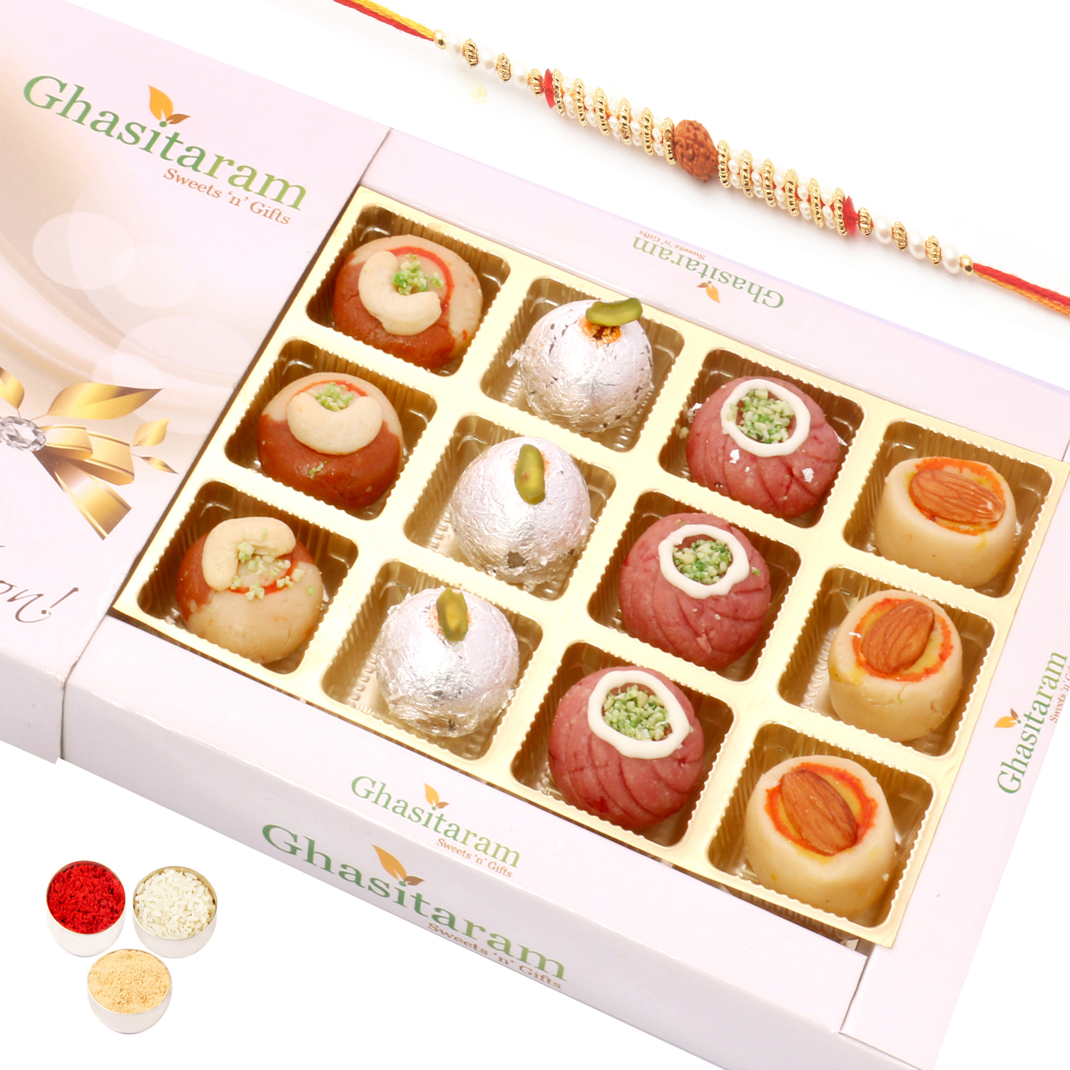 Assorted Sweets in White Box with Rudraksh Rakhi
