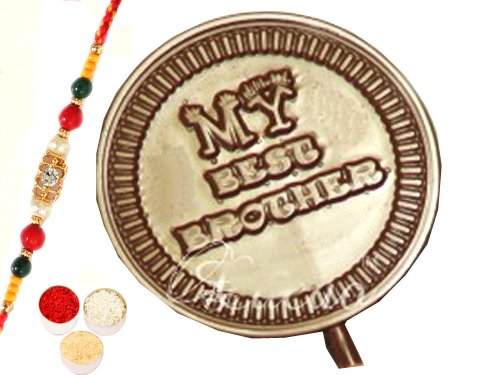 Rakhi with Set of 4 Best Brother Chocolate Lollies
