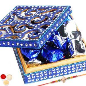 Rakhi with Blue Shining Box