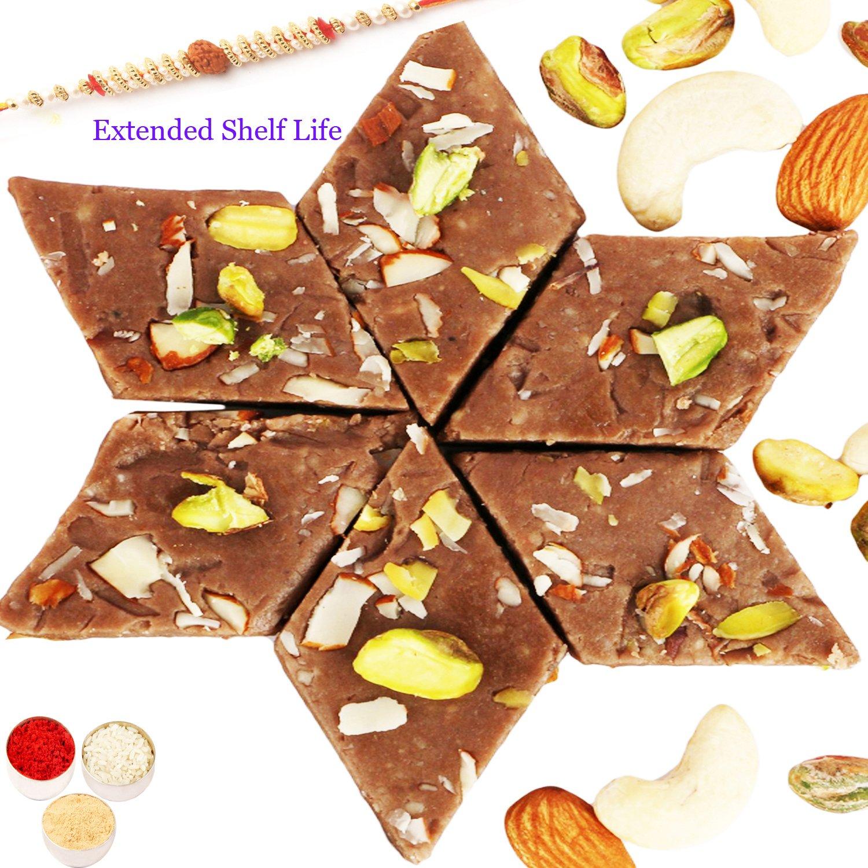 Chocolate Kaju Katli 200gm with Rudraksh Rakhi