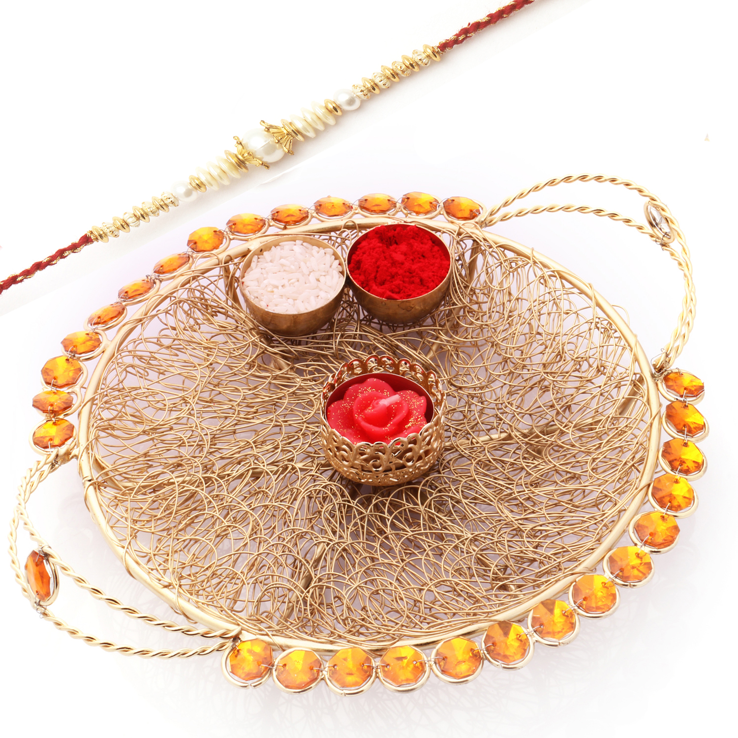 Golden Mesh PoojaThali  with Swastik Rakhi
