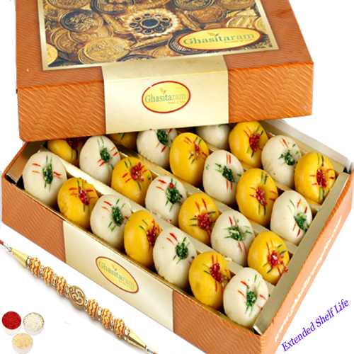 Mawa Peda Box 200gm with Om Beads Rakhi
