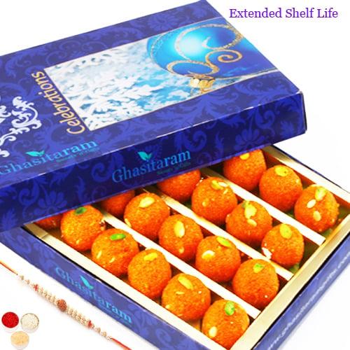 Motichoor Laddoo Box (400 gms) with Rudraksh Rakhi
