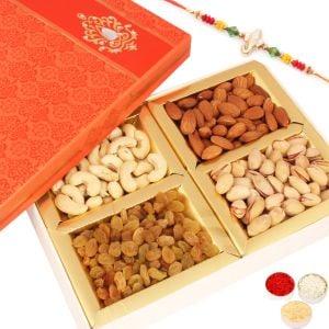 Rakhi with Orange Dryfruit Box