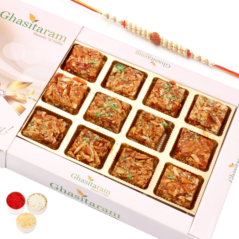 Roasted Almond Delight 12pcs with Rudraksh Rakhi