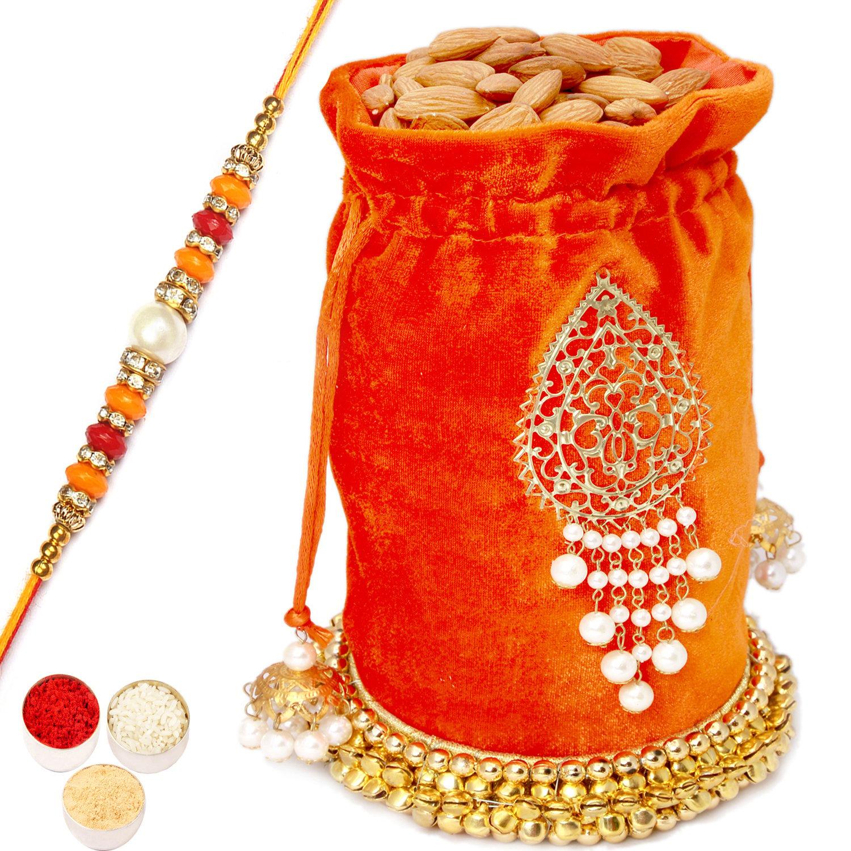 Big Orange Almond Potli with Pearl Diamond Rakhi