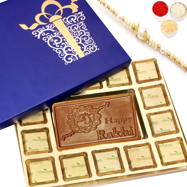 Blue Happy Rakhi Chocolate Box Big with Pearl Rakhi
