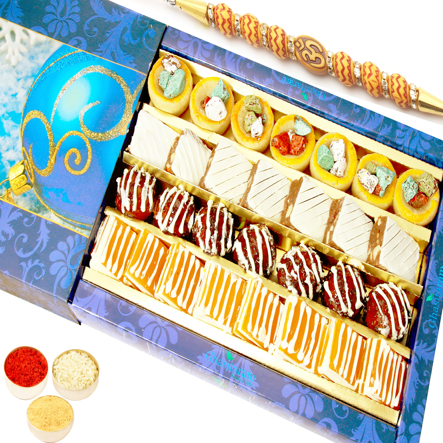 Assorted Exotic Cashew Sweets 400gm with Om Beads Rakhi