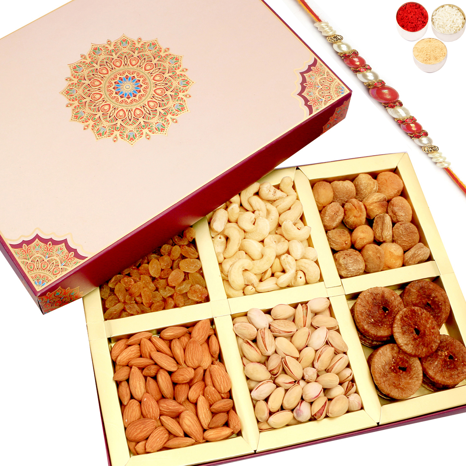 Fusion 6 Part Dryfruit Box with Red Pearl Rakhi