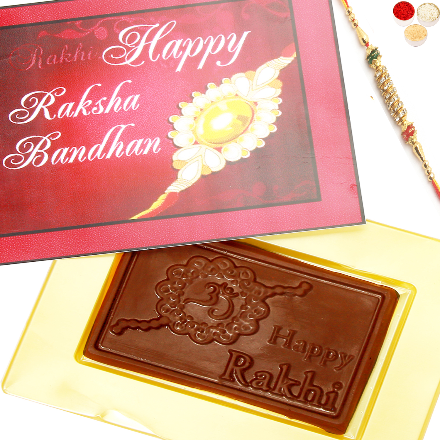 Happy Rakhi Pink Chocolate Box with Pearl Diamond Rakhi