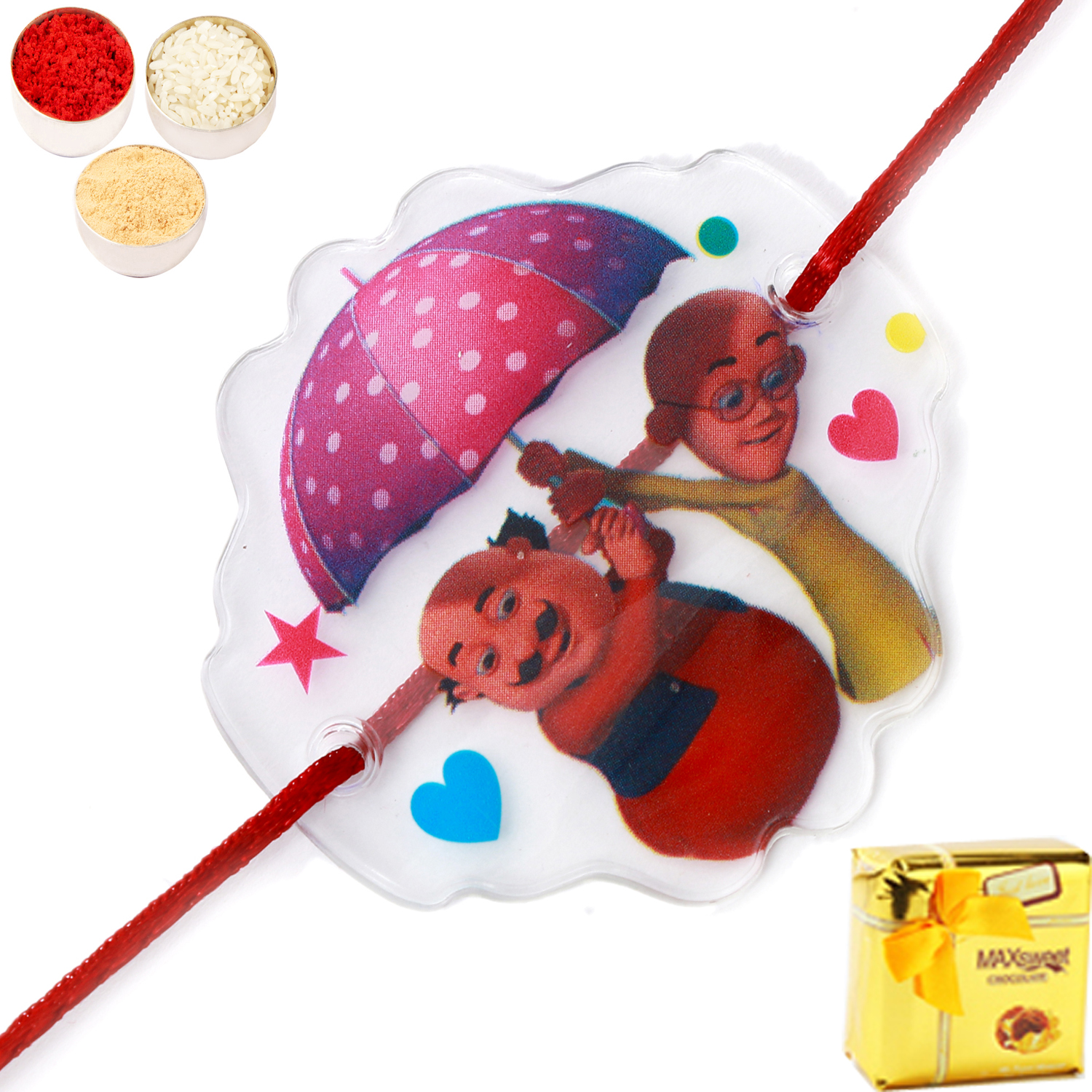Motu Patlu Transparent Umbrella Rakhi with Chocolate Box