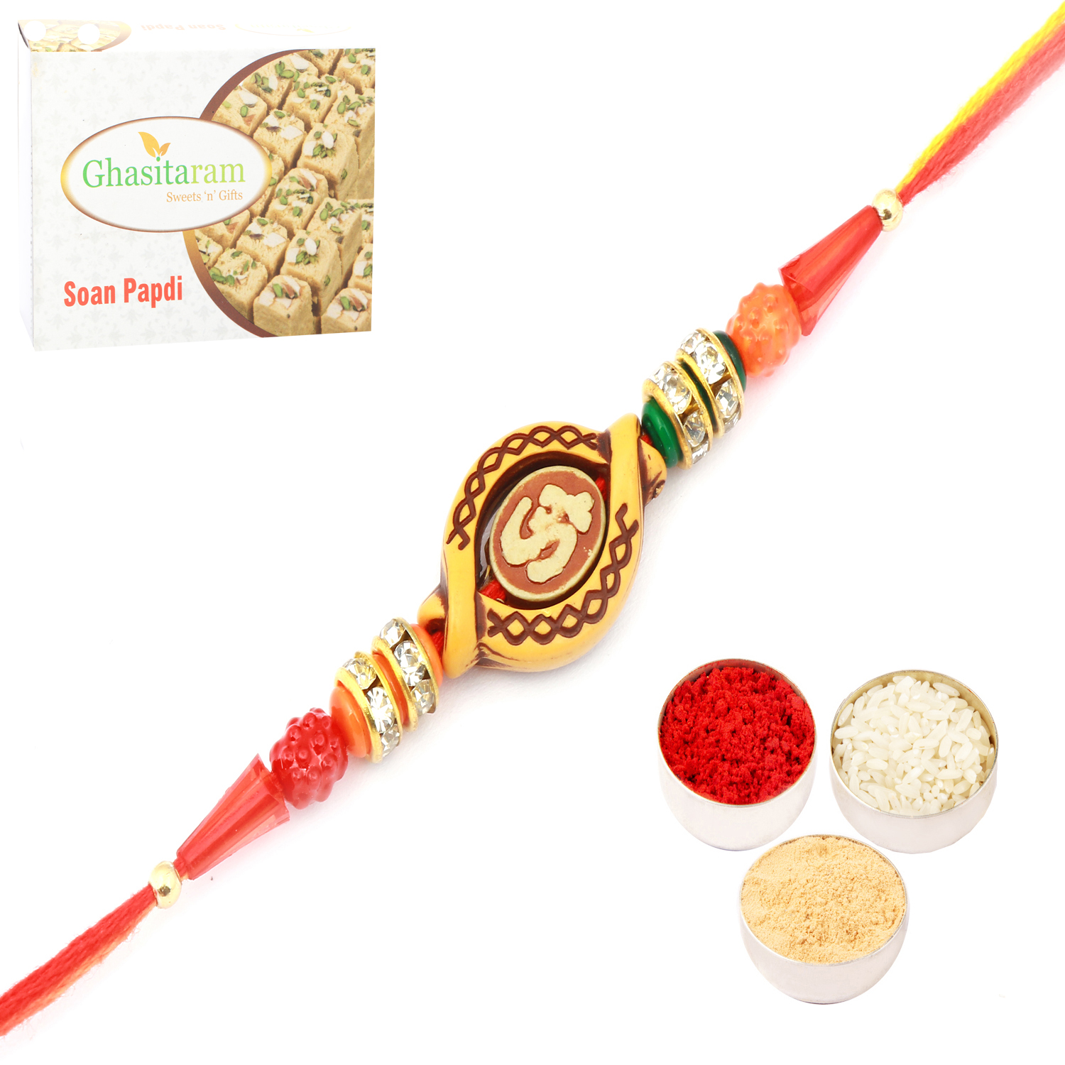 Om Rakhi Thread with 400Gm Soan Papdi