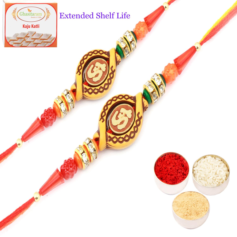 Set of 2 Om Rakhi Threads with 200Gm Kaju Katli
