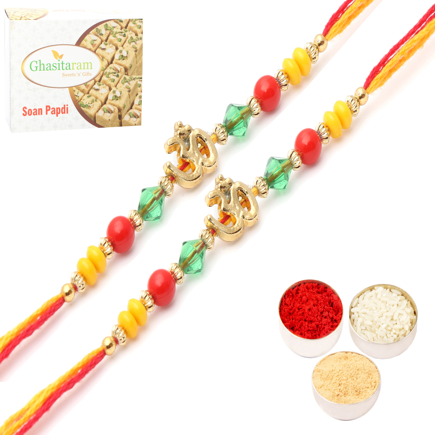 Set of 2 6013 Rakhi Threads with 200Gm Soan Papdi