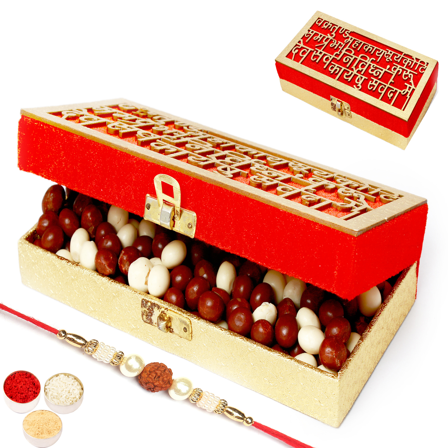 Wakrakund Nutties Box with Rudraksh Rakhi