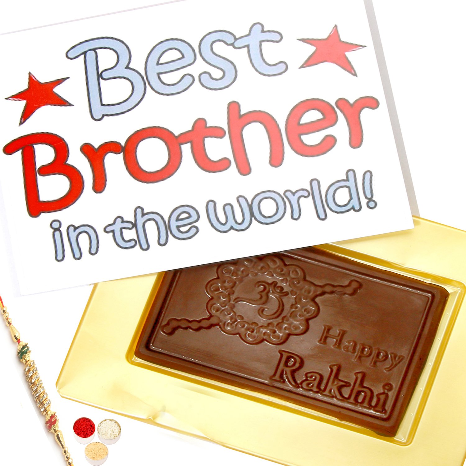 World's Best Brother Chocolate Box with Pearl Rakhi