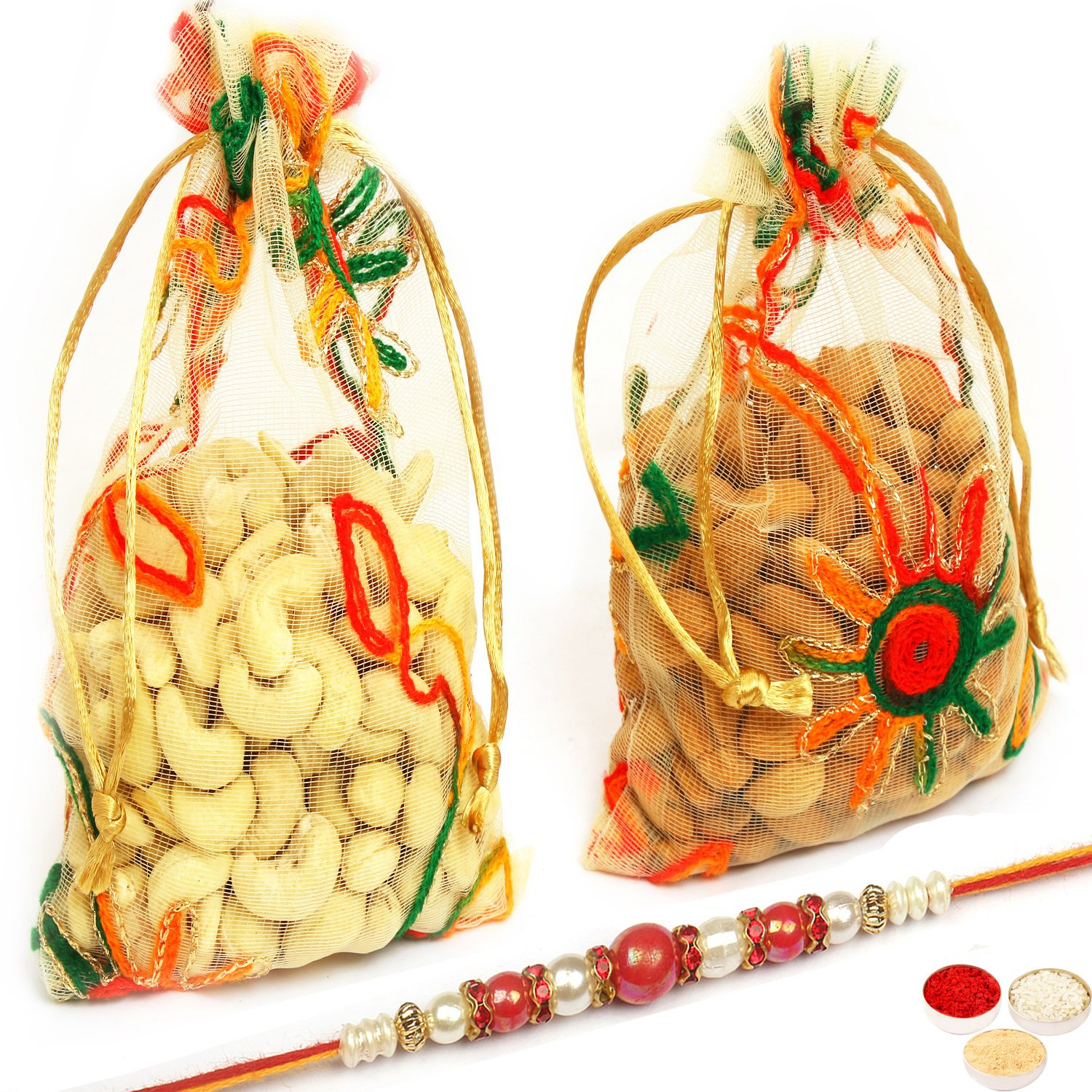 Almonds Cashews Net Pouch with Red Pearl Rakhi
