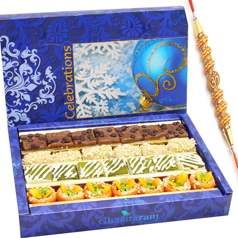 Assorted Box of Kaju Chocolate 400gm with Om Beads Rakhi