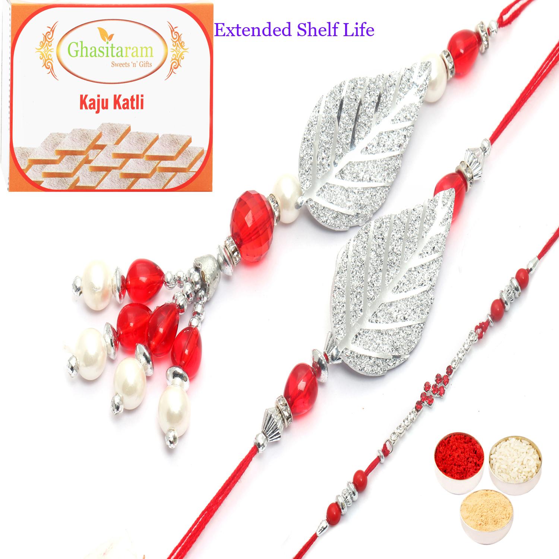 Glittering Leaves of Trust bhaiya Bhabhi Rakhi n 200Gm Kaju katli
