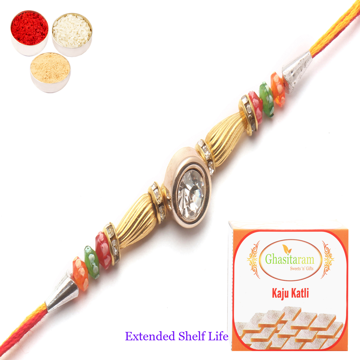 1406 Diamond Rakhi n 200Gm Kaju Katli