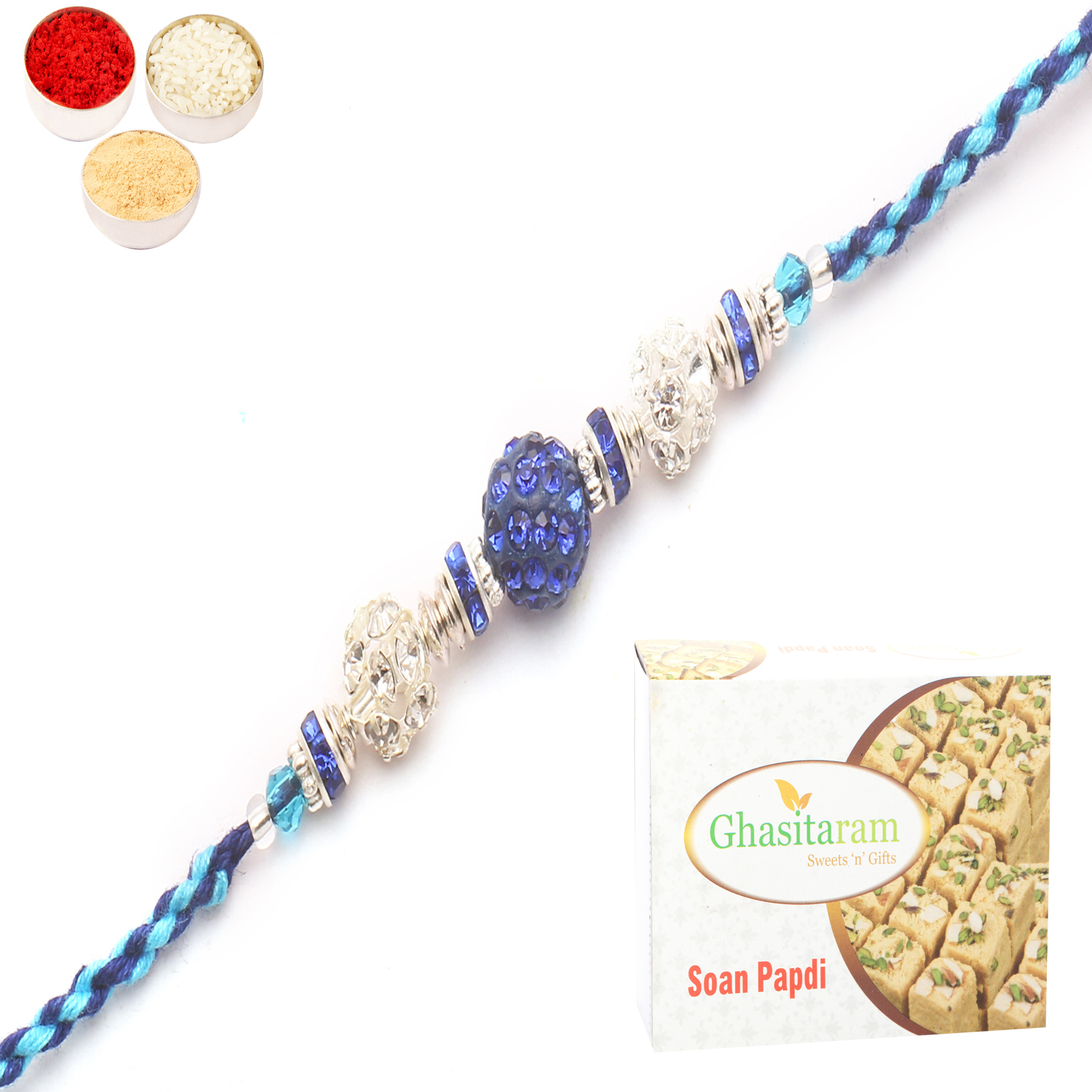 6999 Diamond Rakhi n 200Gm Soan Papdi