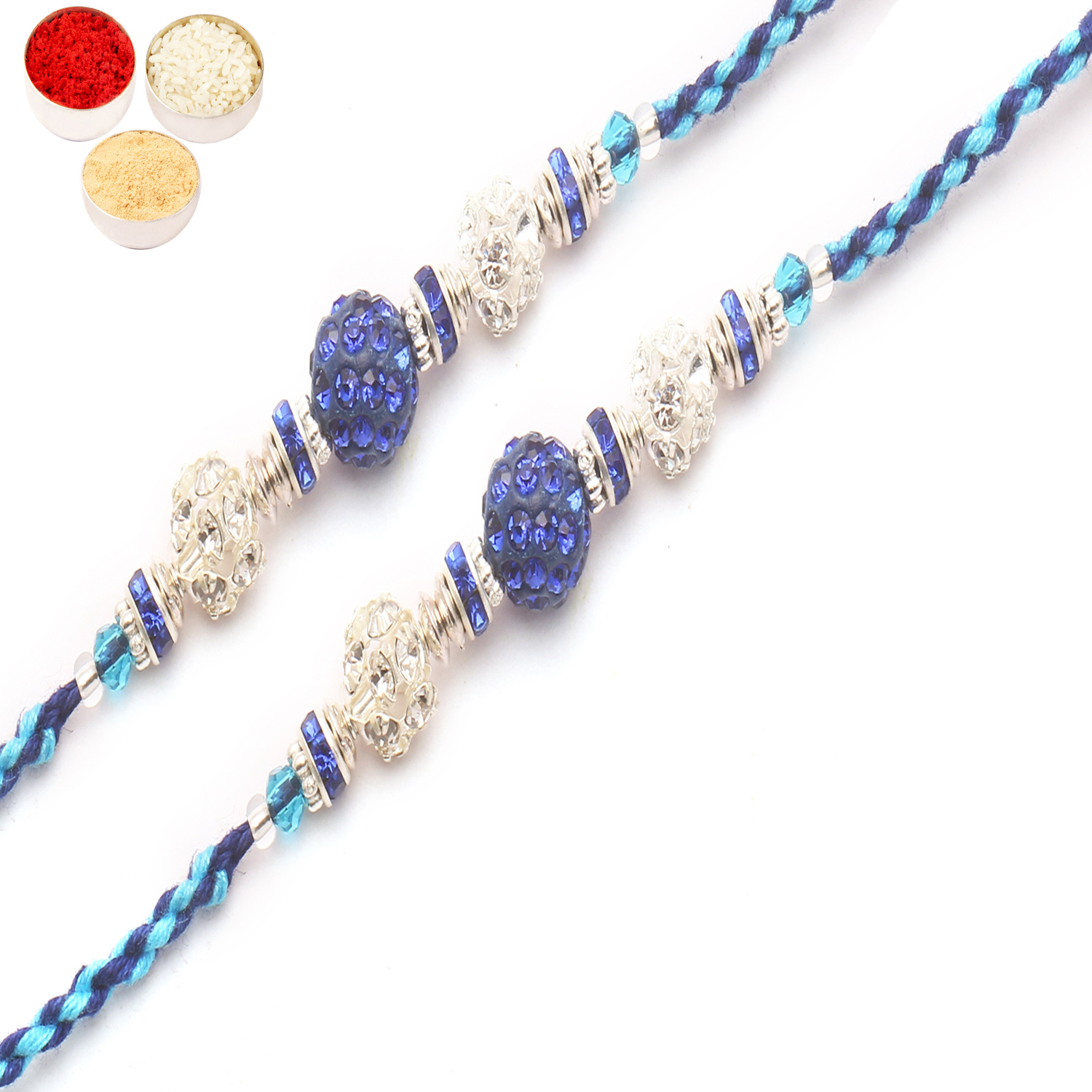 Set of 2 D-6999 Diamond Rakhi