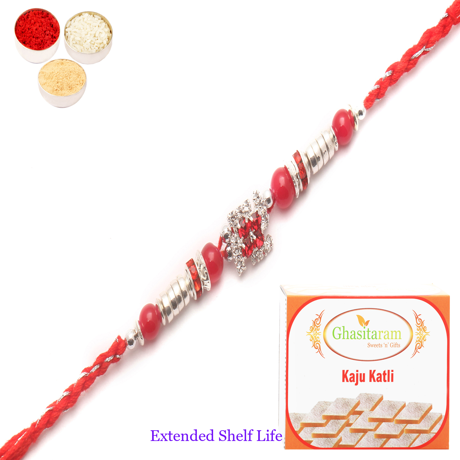 8983 Diamond Rakhi n 200Gm Kaju Katli