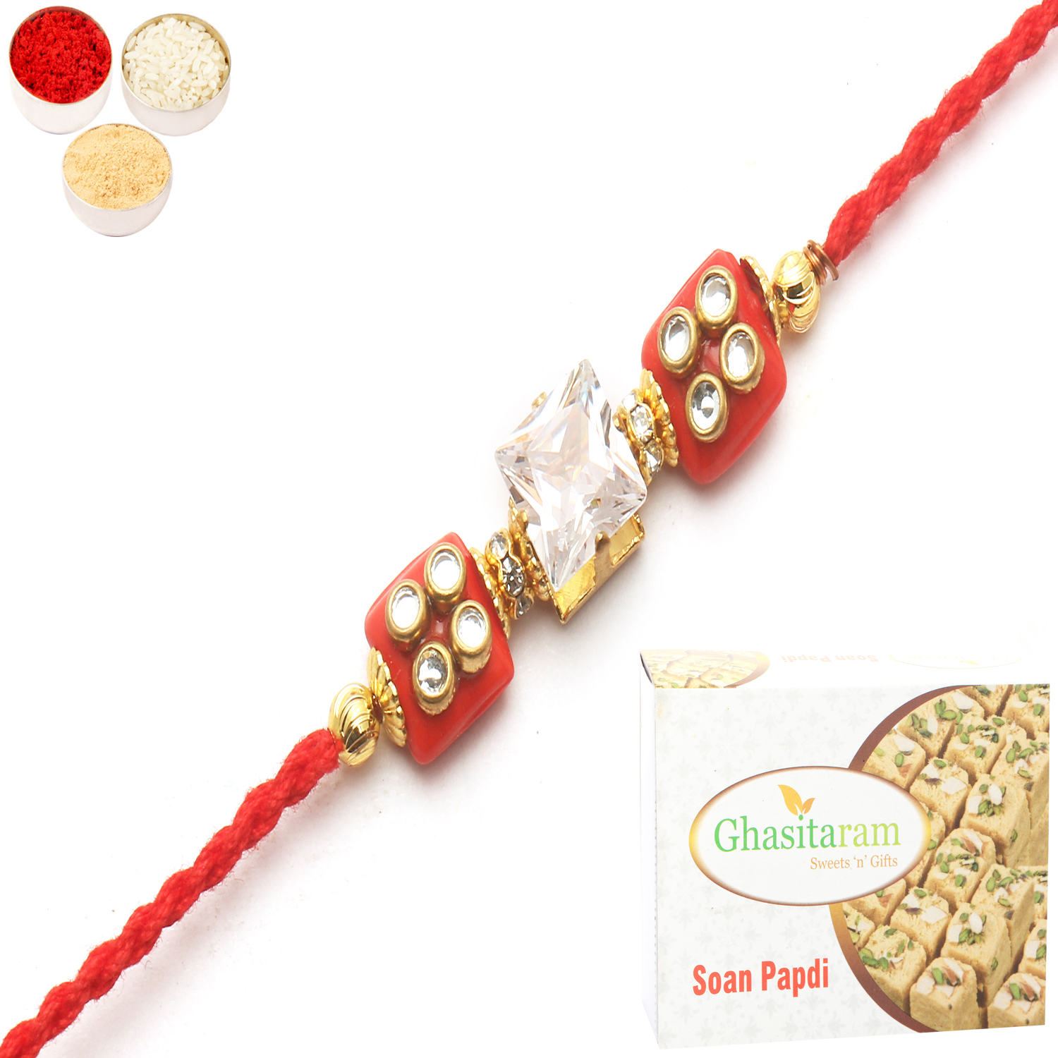 d209 Diamond Rakhi n 400Gm Soan Papdi
