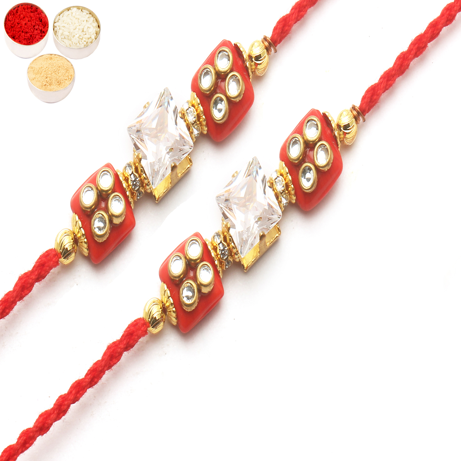 Set of 2 d209 Diamond Rakhi