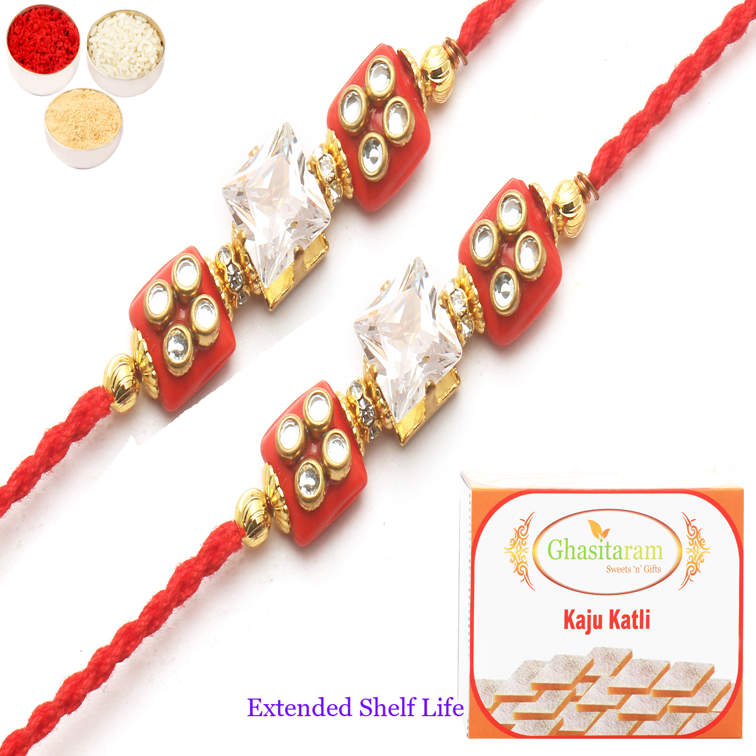 Set of 2 d209 Diamond Rakhi n 200Gm Kaju Katli