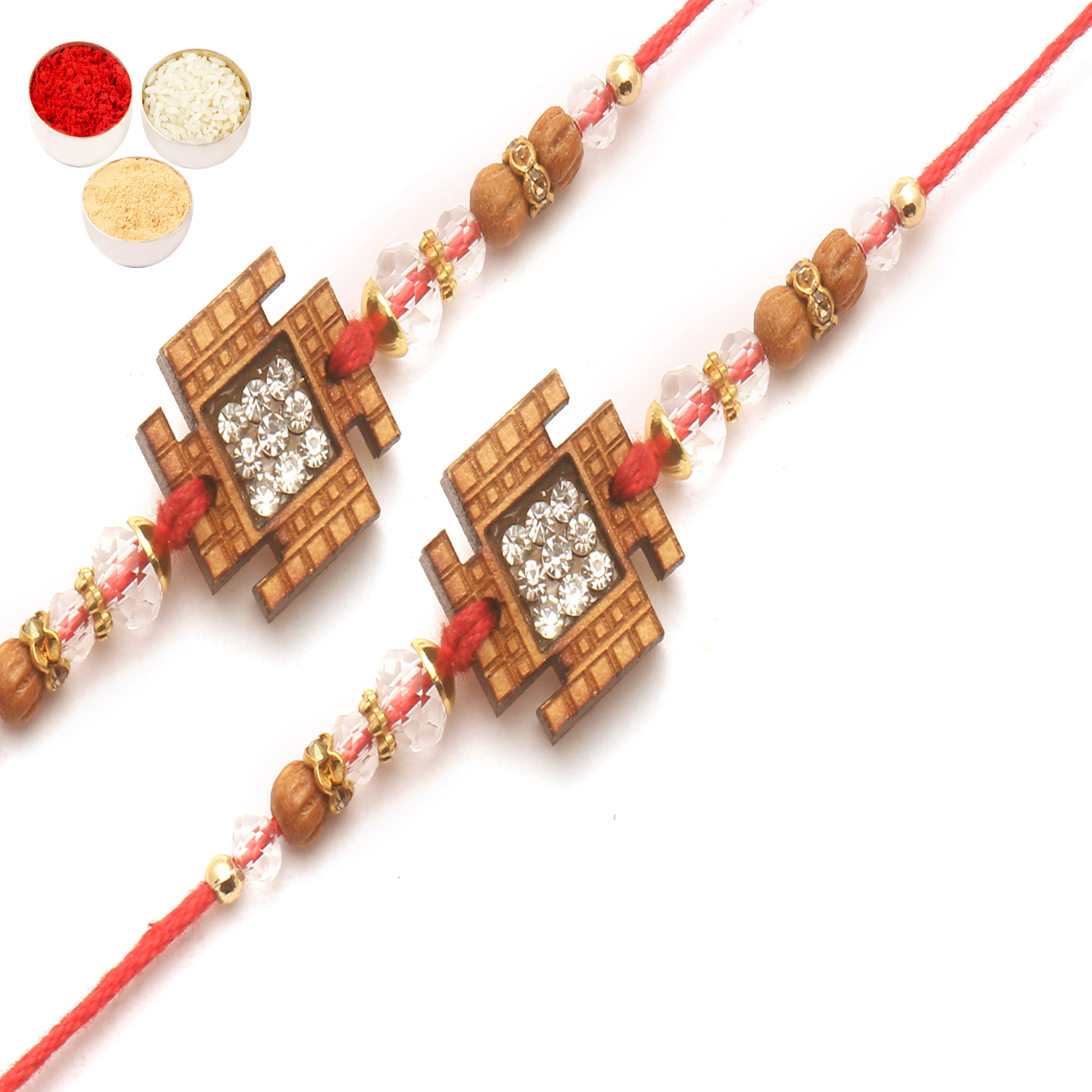 Set of 2 V0009 Diamond Rakhi