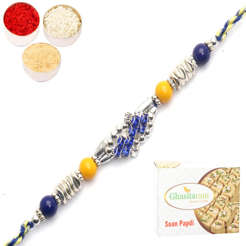 Designer Fancy Thread Rakhi n 200Gm Soan Papdi