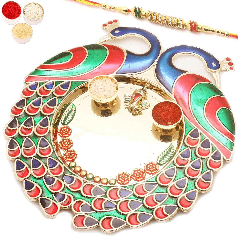 Colourful Peacock Pooja Thali with Diamond Rakhi