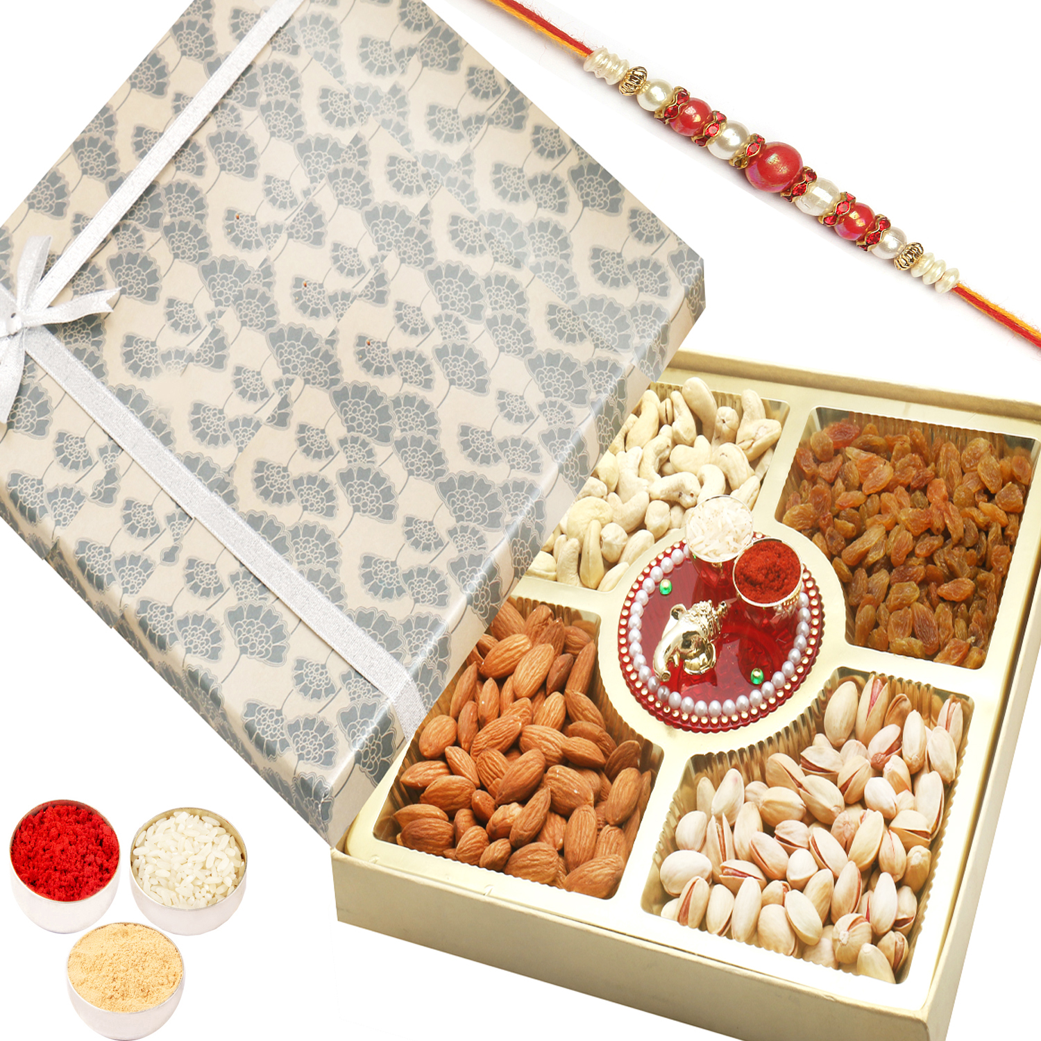 Grey Print Dryfruit Box with Mini Pooja Thali n Red Pearl Rakhi