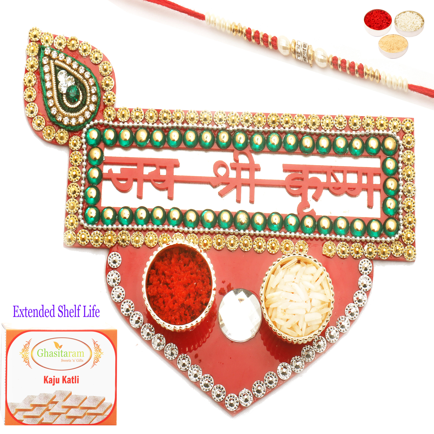Jai Shree Krishna Pooja Thali with Red Pearl Rakhi n 200Gm Kaju Katli