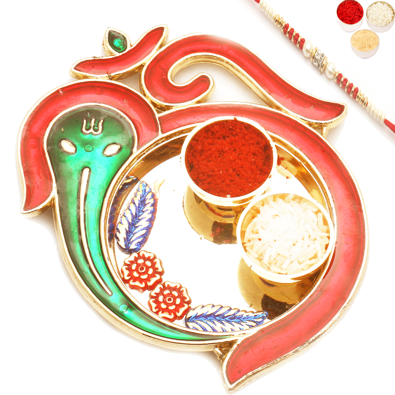 Om Ganeshaya Pooj Thali with Red Pear Rakhi