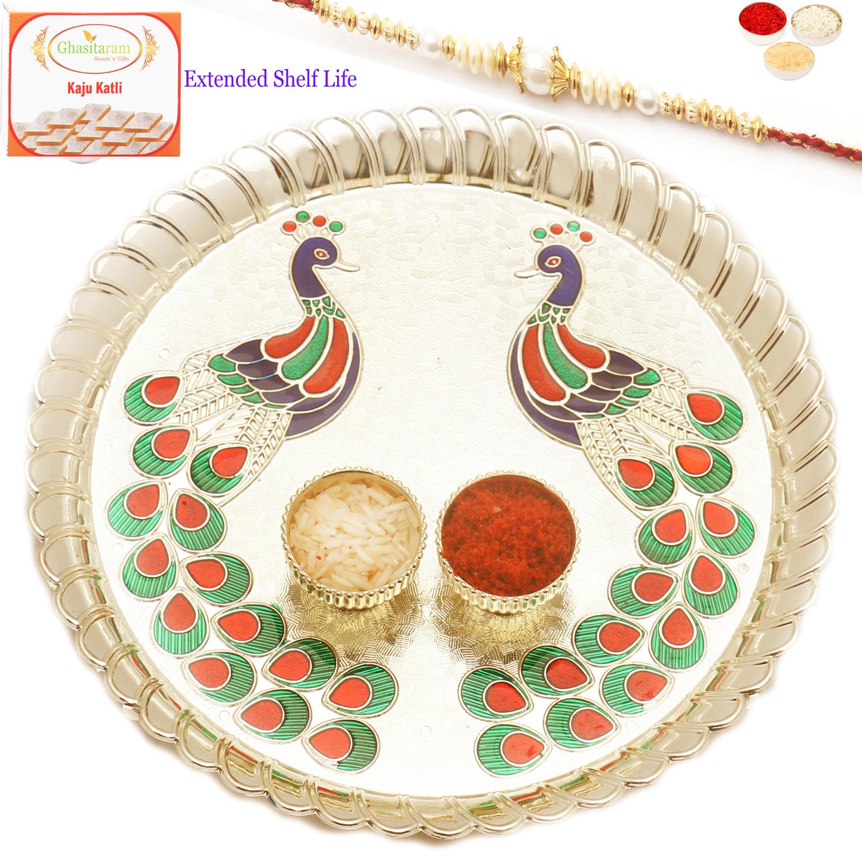 Peacock Pooja Thali with Pearl Rakhi n 200Gm Kaju Katli
